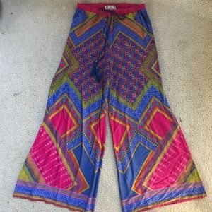 Wide leg colorful boho pants